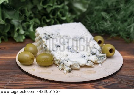 Cheese With Blue Mold. Smelly Blue Cheese With A Noble Mould