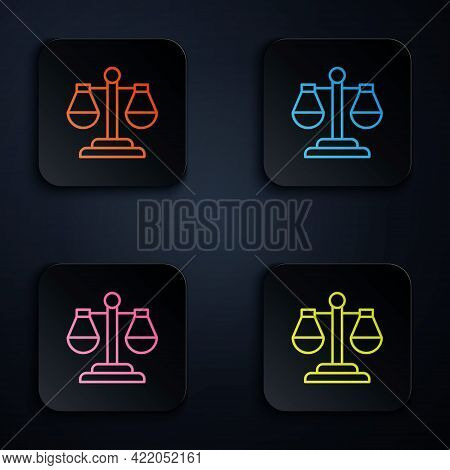 Color Neon Line Scales Of Justice Icon Isolated On Black Background. Court Of Law Symbol. Balance Sc
