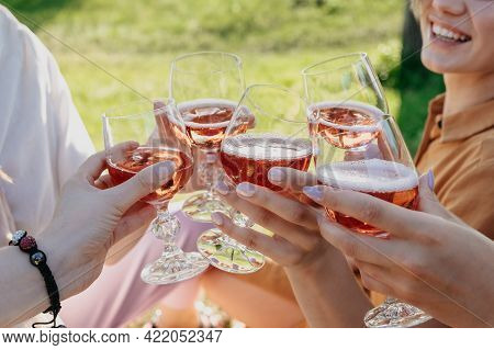Summer Party Time, Summer Drinks Cocktails, Gathering Of Friends. Friends Hands Toasting Wine Drinks