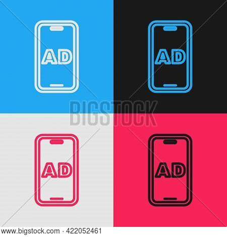 Pop Art Line Advertising Icon Isolated On Color Background. Concept Of Marketing And Promotion Proce