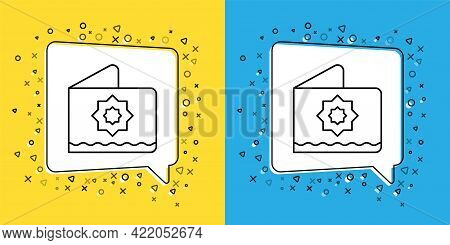 Set Line Islamic Octagonal Star Ornament Icon Isolated On Yellow And Blue Background. Vector