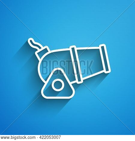 White Line Cannon Icon Isolated On Blue Background. Medieval Weapons. Long Shadow. Vector