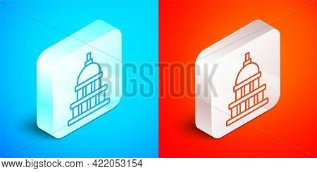 Isometric Line White House Icon Isolated On Blue And Red Background. Washington Dc. Silver Square Bu