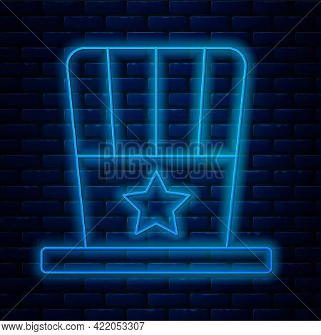 Glowing Neon Line Patriotic American Top Hat Icon Isolated On Brick Wall Background. Uncle Sam Hat.