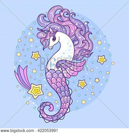 Seahorse Unicorn With Long Mane. Magic Sea Animal.children's Illustration. For The Design Of Prints,