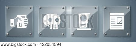 Set Obituaries, Grave With Tombstone, Skull And Death Certificate In Hand. Square Glass Panels. Vect