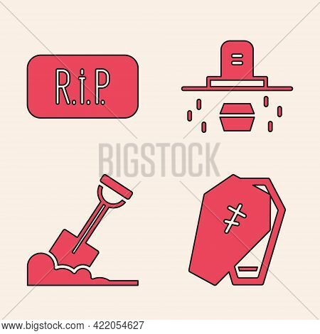 Set Coffin With Cross, Speech Bubble Rip Death, Grave With Coffin And Shovel In The Ground Icon. Vec