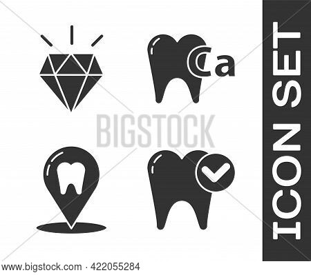 Set Tooth Whitening Concept, Diamond Teeth, Dental Clinic Location And Calcium For Tooth Icon. Vecto
