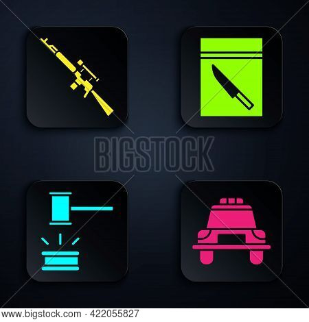 Set Police Car And Flasher, Sniper Rifle With Scope, Judge Gavel And Evidence Bag And Knife. Black S