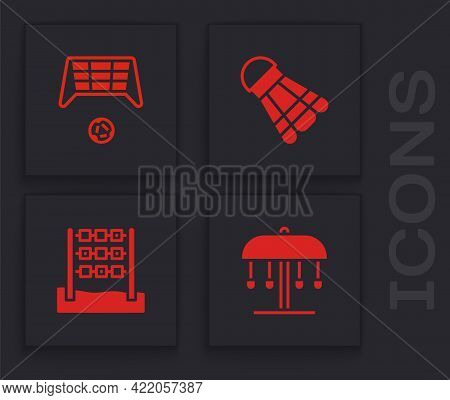 Set Attraction Carousel, Soccer Goal With Ball, Badminton Shuttlecock And Tic Tac Toe Game Icon. Vec