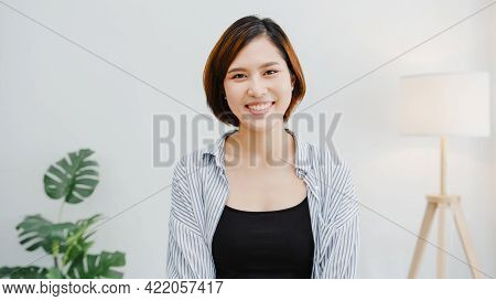 Portrait Of Beautiful Executive Businesswoman Smart Casual Wear Looking At Camera And Smiling, Happy