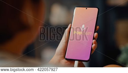 Young Attractive Asia Lady Wear Headphones Using Phone Listen Digital Music Podcast Online Channel S