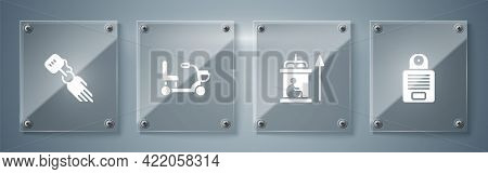 Set Intercom, Elevator For Disabled, Electric Wheelchair And Prosthesis Hand. Square Glass Panels. V