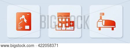 Set Medical Hospital Building, X-ray Shots And Hospital Bed. White Square Button. Vector