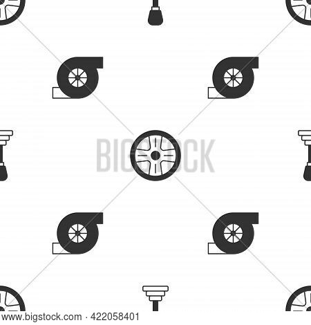 Set Gear Shifter, Alloy Wheel And Automotive Turbocharger On Seamless Pattern. Vector