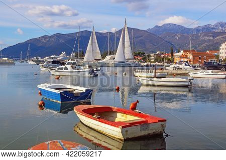 Beautiful Winter Mediterranean Landscape, Sailboats And Fishing Boats On Water. Montenegro, Adriatic