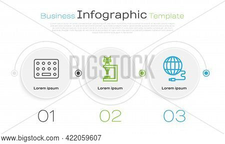 Set Line Pills In Blister Pack, Microscope And Social Network. Business Infographic Template. Vector