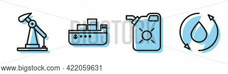 Set Line Canister For Motor Oil, Oil Pump Or Pump Jack, Oil Tanker Ship And Oil Drop Icon. Vector