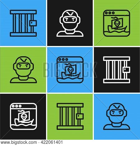 Set Line Prison Window, Internet Piracy And Thief Mask Icon. Vector
