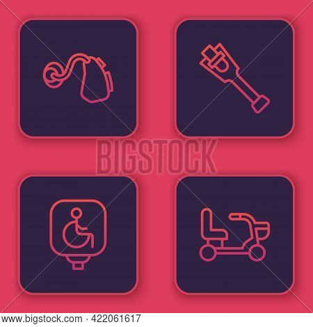 Set Line Hearing Aid, Disabled Wheelchair, Prosthesis Leg And Electric. Blue Square Button. Vector