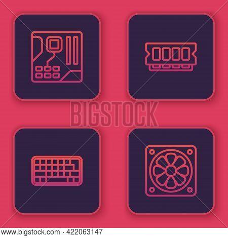 Set Line Motherboard Digital Chip, Keyboard, Ram, Random Access Memory And Computer Cooler. Blue Squ