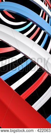 Blue White And Red Spiral On Black Background - 3d Rendering Illustration