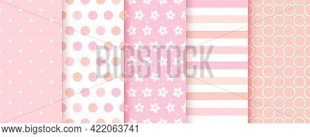 Baby Pattern. Baby Girl Seamless Background. Pink Textile Print. Vector. Set Of Kids Pastel Geometri