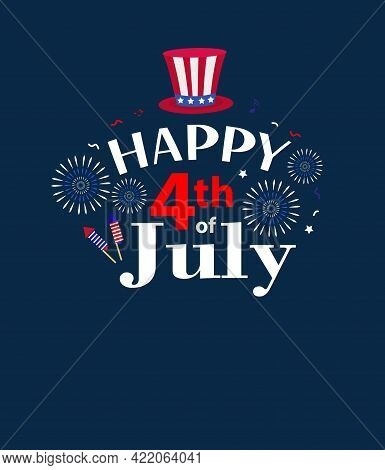 Happy 4th July Greeting Card, Poster. American Independence Day Template For Your Design. Vector Ill
