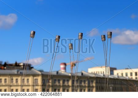 Cylindrical Decorative Lighting Lamps. To Illuminate The Ground. Against The Background Of A Blurred