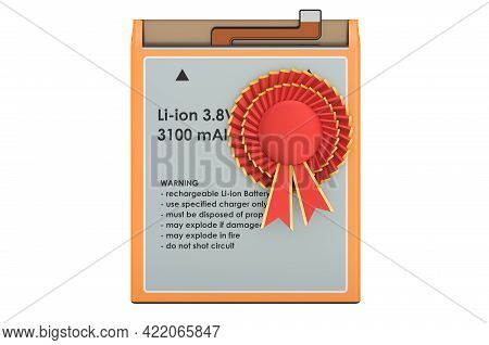 Lithium Ion Cell Phone Battery With Best Choice Badge, 3d Rendering Isolated On White Background