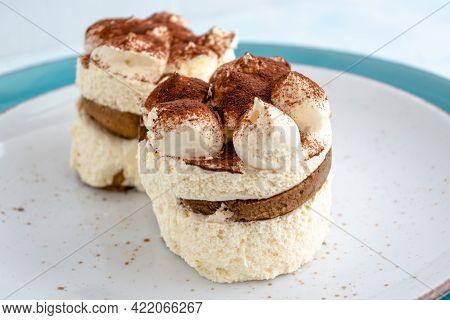 Tiramisu Cake. Traditional Italian Dessert Decorated With Cocoa
