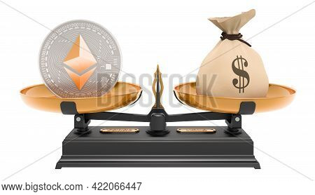 Ethereum And Dollar Bag, Balance Concept. 3d Rendering Isolated On White Background