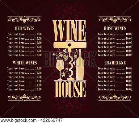 Retro Vintage Violet Wine House Concept Background. Red Wines, White Wines, Rose Wines, Champangne M