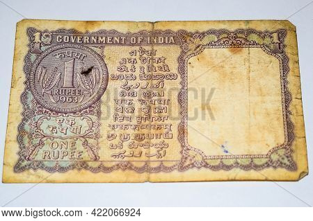 Rare Old Indian One Rupee Currency Note On White Background, Government Of India One Rupee Old Bankn