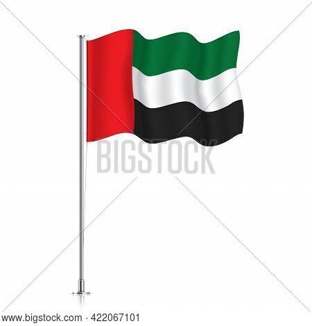 Uae Flag Waving On A Metallic Pole.