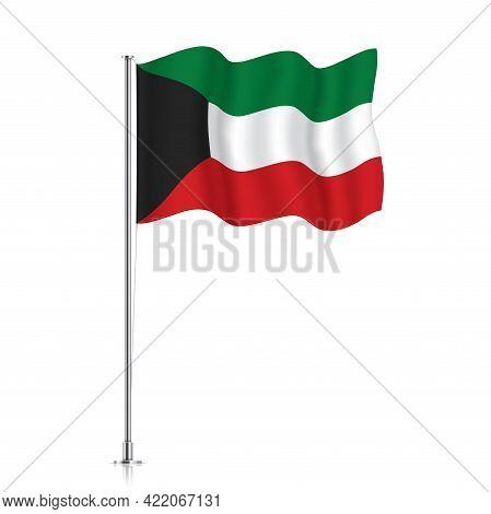 Kuwait Flag Waving On A Metallic Pole.
