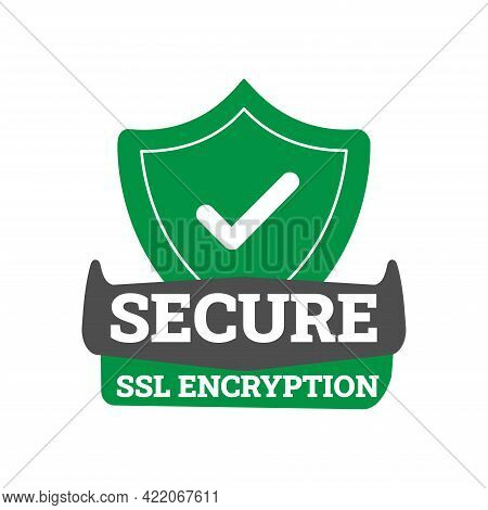 Secure Connection Icon Vector Illustration Isolated On White Background, Flat Style Secured Ssl Shie
