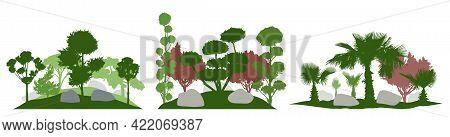 Gardening. Silhouette Of Decorative Trees, Landscape. Set, Vector Illustration