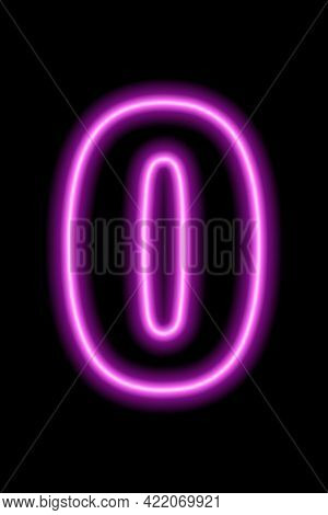 Neon Pink Number 0 On Black Background. Learning Numbers, Serial Number, Price, Place.