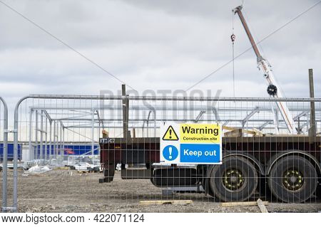Construction Site Health And Safety Message Rules Sign Board Signage On Fence Boundary