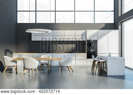 Minimalist Kitchen Set With Wooden Table And Chairs On Grey Floor. Cooking Room With Bar Chairs And