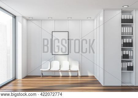 Waiting Room Interior With Four White Chairs On Parquet Floor, Window With City View. White And Wood
