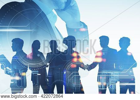 Seven Business People Working Together In Blurry Abstract City With Double Exposure Of Digital Graph