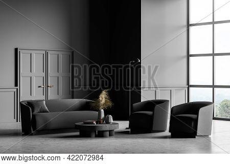 Living Room Design Interior. Modern Stylish Home Area. Concrete Floor, Panoramic Window. Armchairs A