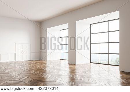 Empty Living Room Design Interior. Modern Stylish Home Area. Oak Parquet Floor. Panoramic Window. Wh