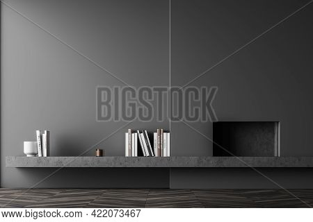 Dark Empty Living Room Interior With Concrete Fireplace, Parquet Floor. Mockup Blank Wall Banner In