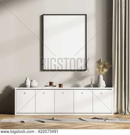 Modern Design Home Interior Of Living Room With Commode. Mock Up Frame Poster For Painting On The Wa