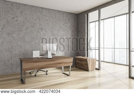 Corner Of Minimalistic Scandinavian Style Ceo Office With Stone Walls, Wooden Floor, Computer Desk A