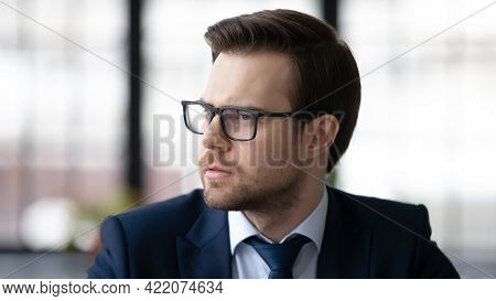 Pensive Businessman Lost In Thoughts, Thinking Over Work Issues