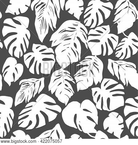 Trendy Vector Monochrome Seamless Pattern With Silhouettes Of Tropical Leaves On Black Background. F